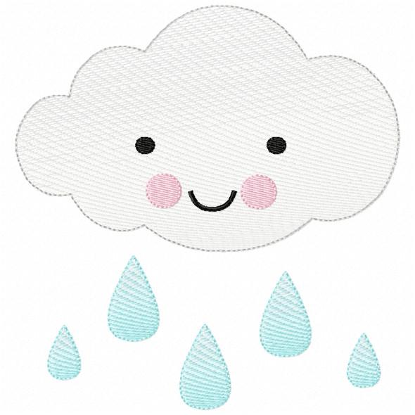 Raincloud Sketch Filled Stitch Machine Embroidery Design