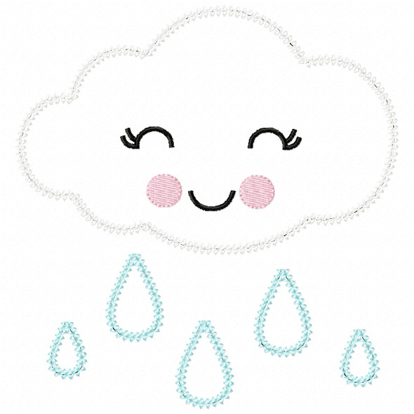 Girly Raincloud Vintage and Chain Stitch Machine Embroidery Design