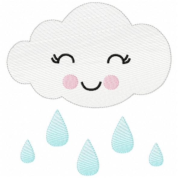 Girly Raincloud Sketch Filled Stitch Machine Embroidery Design