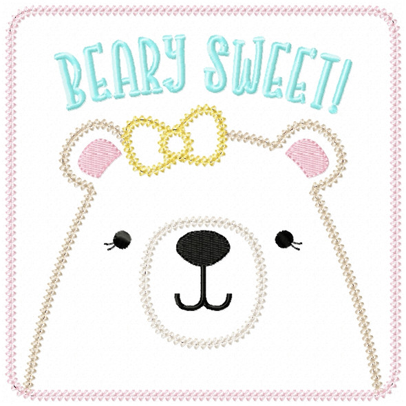 Girly Beary Sweet Patch Vintage and Chain Stitch