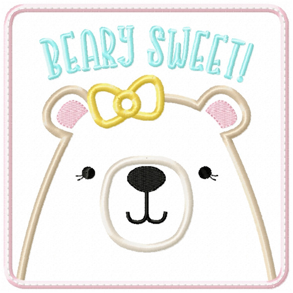 Girly Beary Sweet Patch Satin and ZigZag Stitch