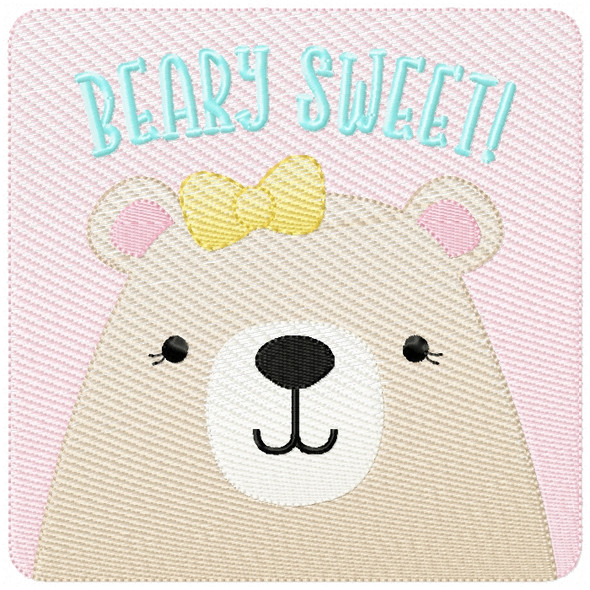 Girly Beary Sweet Patch Sketch Filled Stitch