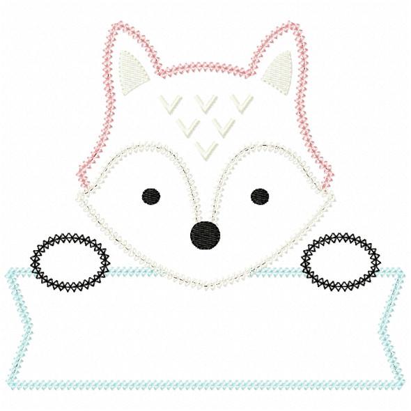 Fox Banner Vintage and Chain Stitch