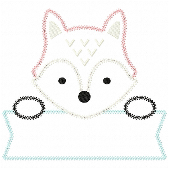 Fox Banner Vintage and Chain Stitch Machine Embroidery Design