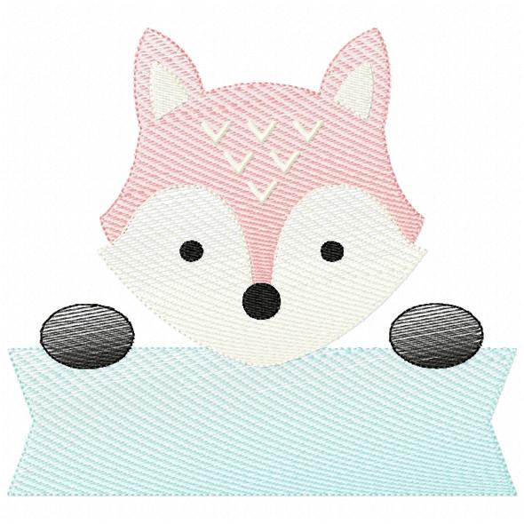 Fox Banner Sketch Filled Stitch