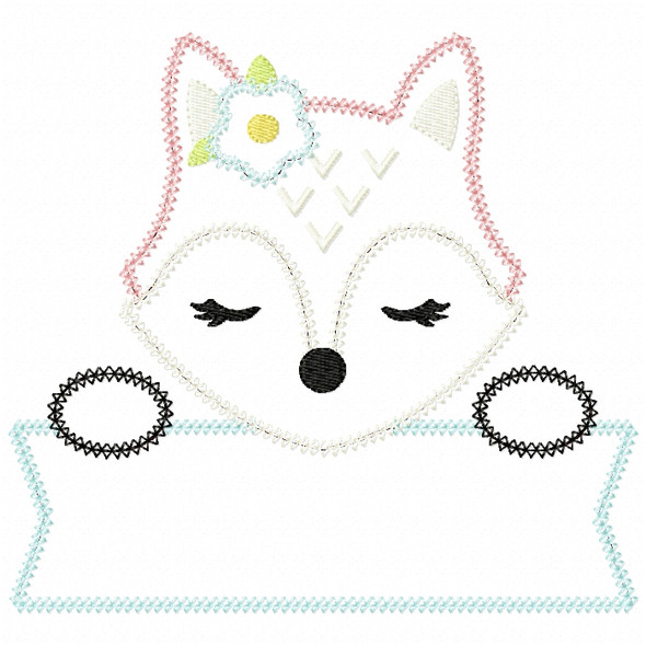 Girl Fox Banner Vintage and Chain Stitch