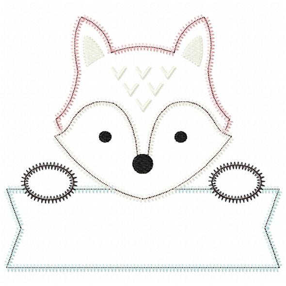 Girly Fox Banner Satin and ZigZag Stitch