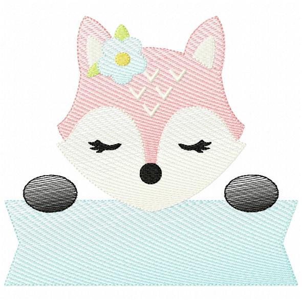 Girly Fox Banner Sketch Filled Stitch