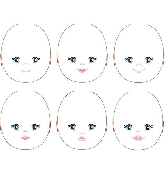 Marlissa Doll Faces Addon Machine Embroidery Design