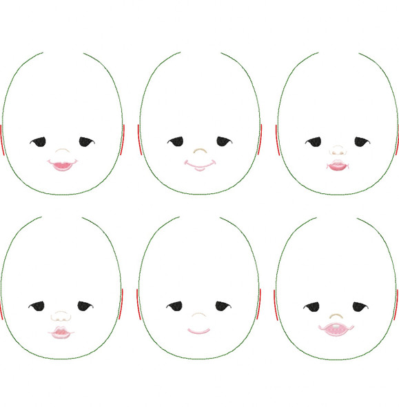 Penelope Doll Faces Addon Machine Embroidery Design