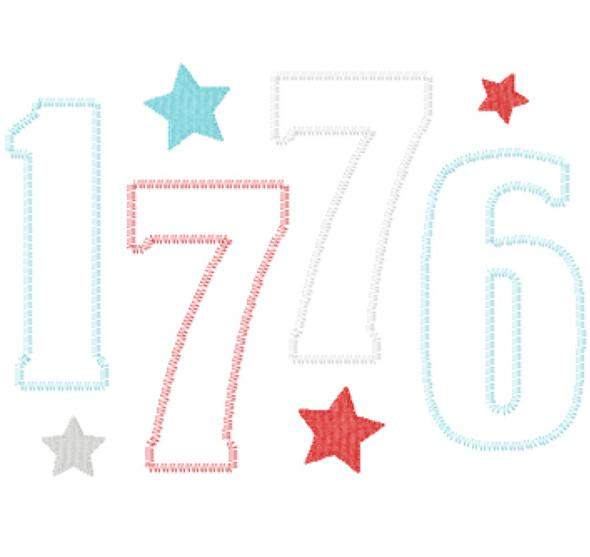 1776 Satin and Zigzag Applique