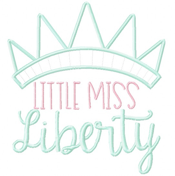 Little Miss Liberty Satin and Zigzag Applique Machine Embroidery Design