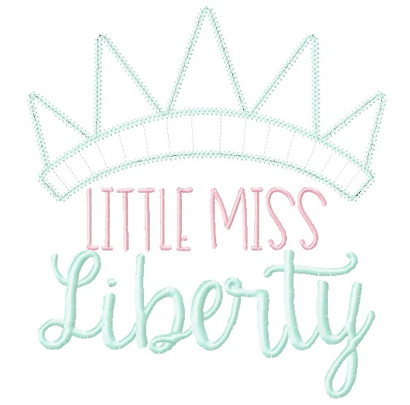 Little Miss Liberty Chain and Vintage Applique Machine Embroidery Design