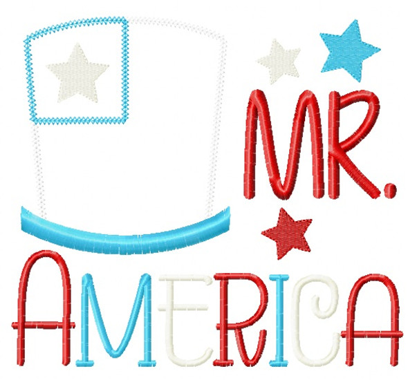 Mr America Blanket and Vintage Applique Machine Embroidery Design
