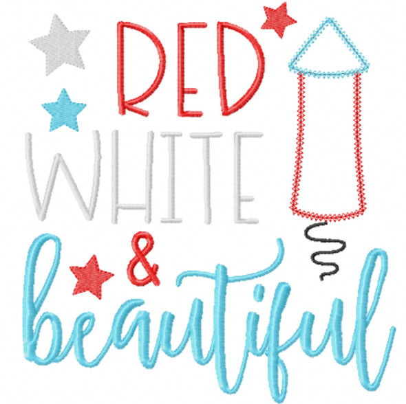 Red White and Beautiful Chain and Vintage Applique Machine Embroidery Design