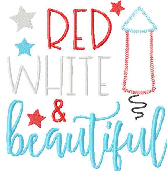 Red White and Beautiful Chain and Vintage Applique