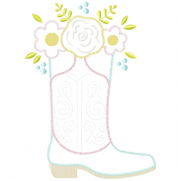 Floral Cowgirl Boot Chain and Vintage Applique Machine Embroidery Design