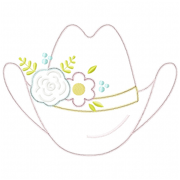 Floral Cowgirl Hat Satin and Zigzag Applique