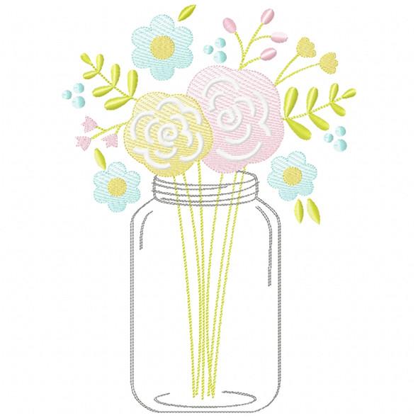 Floral Mason Jar Sketch Applique