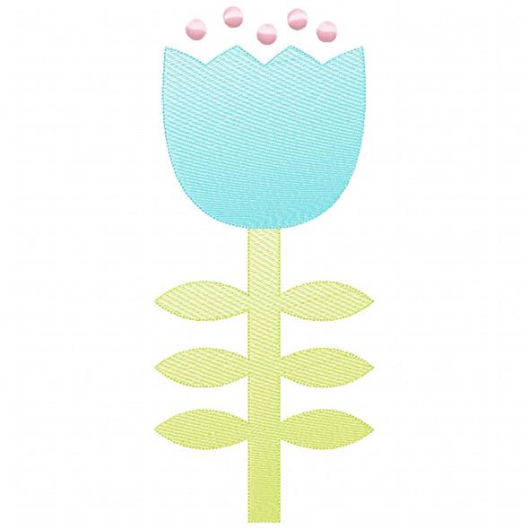 Flower 3 Sketch Applique
