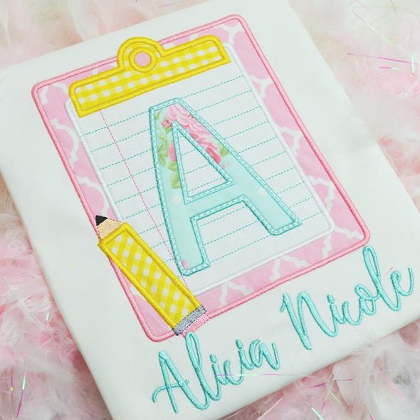 Clipboard Applique Alpha Machine Embroidery Design