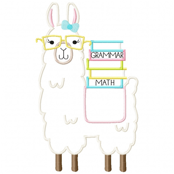 Girly Llama and Books Satin and Zigzag Applique Machine Embroidery Design
