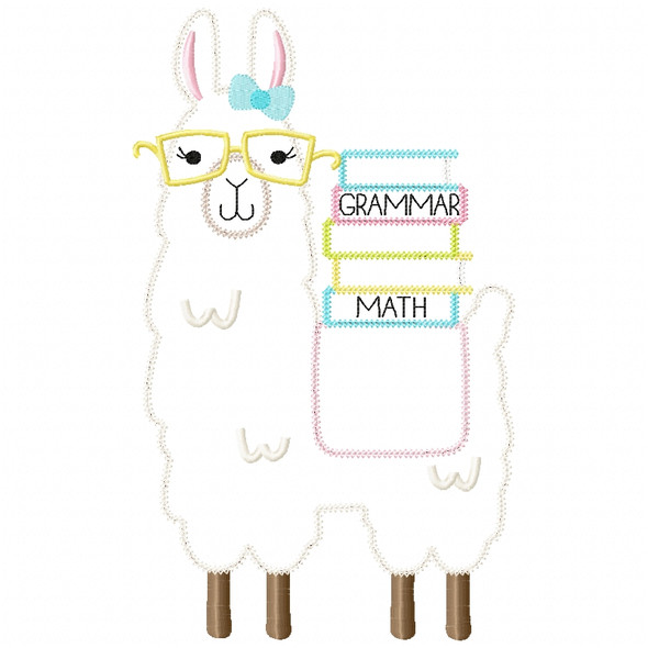 Girly Llama and Books Chain and Vintage Applique Machine Embroidery Design