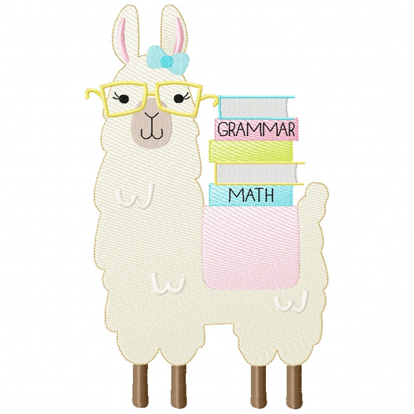 Girly Llama and Books Sketch Applique Machine Embroidery Design