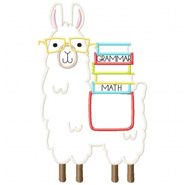 Llama and Books Satin and Zigzag Applique