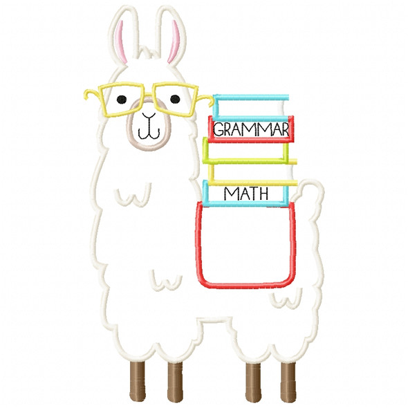 Llama and Books Satin and Zigzag Applique Machine Embroidery Design