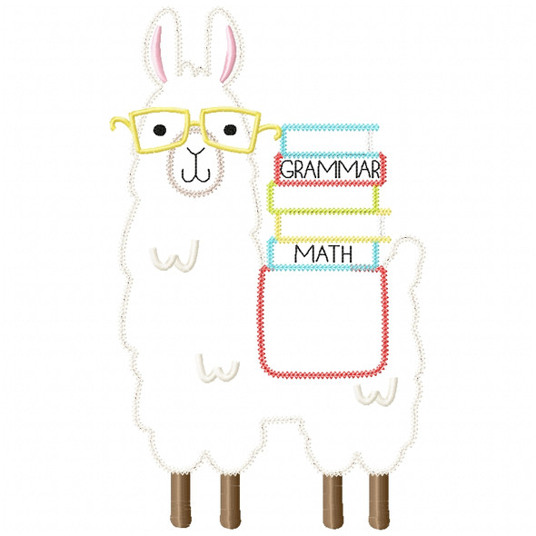 Llama and Books Chain and Vintage Applique Machine Embroidery Design