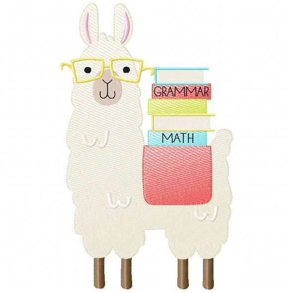 Llama and Books Sketch Applique
