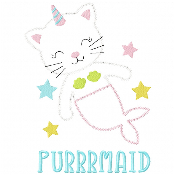 Purrrmaid Chain and Vintage Applique Machine Embroidery Design