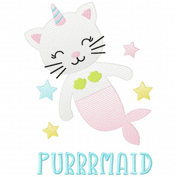 Purrrmaid Sketch Applique Machine Embroidery Design