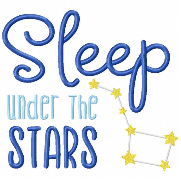 Sleep Under the Stars Filled Design Machine Embroidery Design