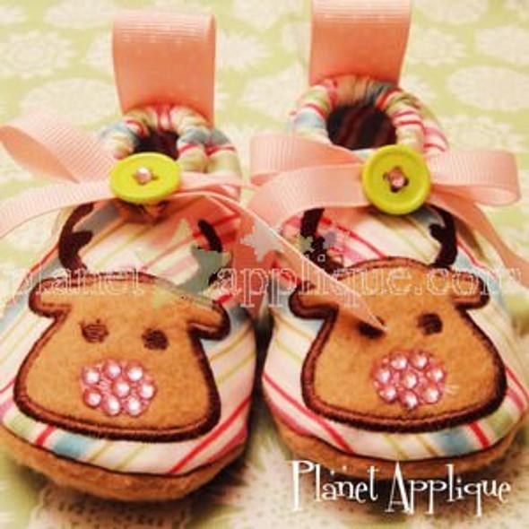 In the hoop Reindeer Baby Booties Machine Embroidery Design