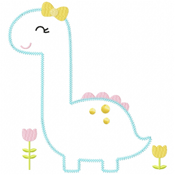 Sweet Dino Chain and Vintage Applique Machine Embroidery Design