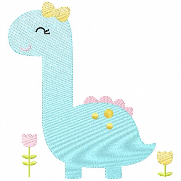 Sweet Dino Sketch Applique Machine Embroidery Design