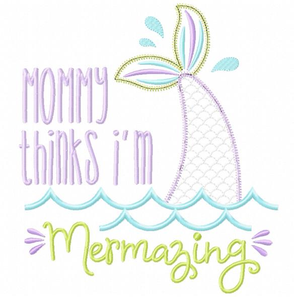 Mommy Mermazing Satin and Zigzag Applique
