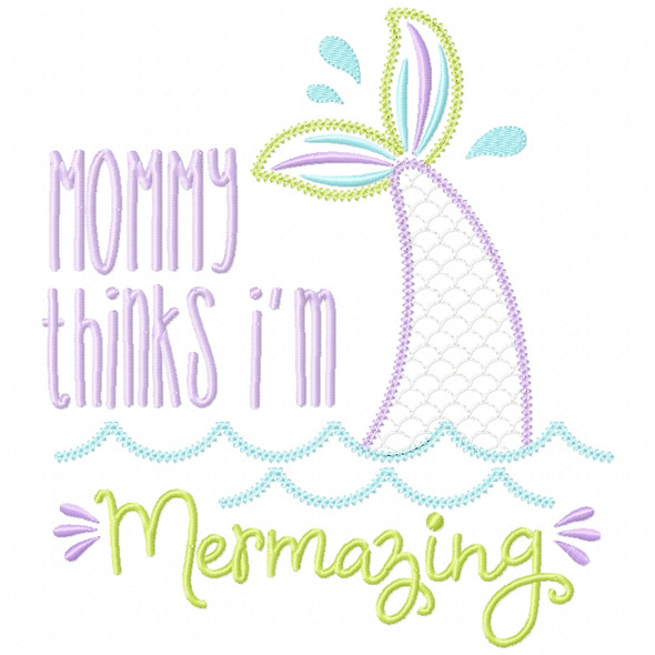 Mommy Mermazing Chain and Vintage Applique Machine Embroidery Design