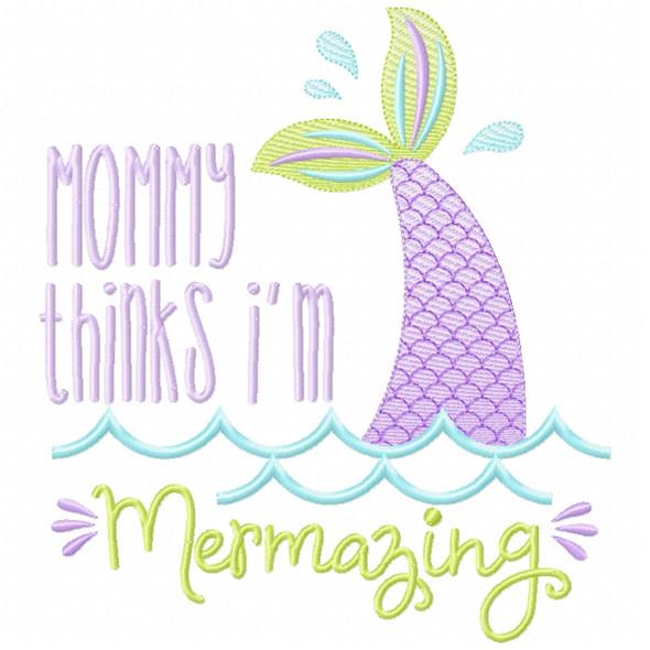 Mommy Mermazing Sketch Applique Machine Embroidery Design