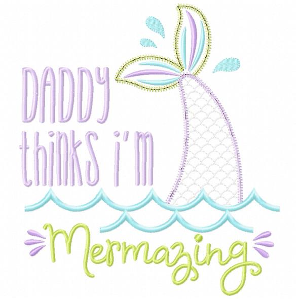 Daddy Mermazing Satin and Zigzag Applique