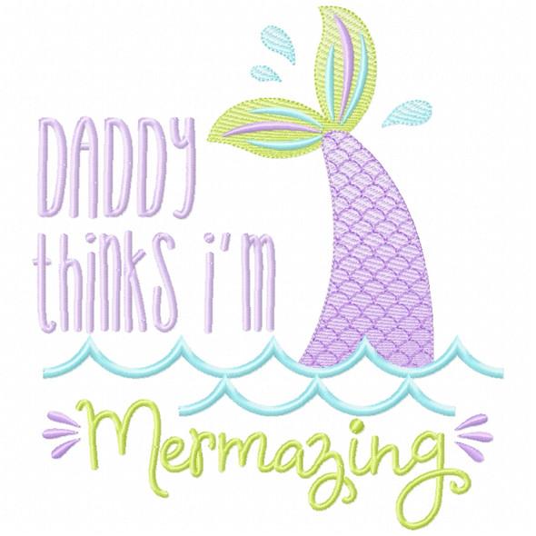 Daddy Mermazing Sketch Applique