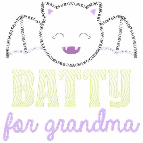 Batty For Grandma Chain and Vintage Applique