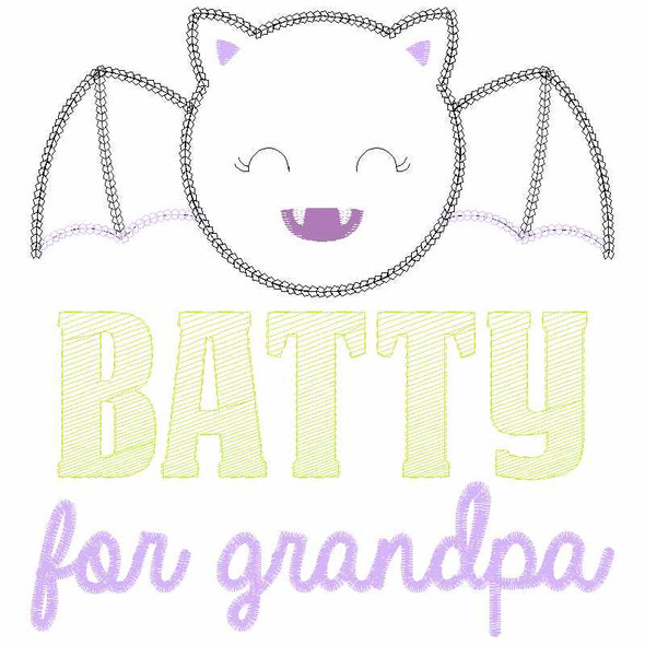 Batty for Grandpa Chain and Vintage Applique