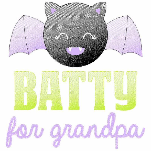 Batty for Grandpa Sketch Applique