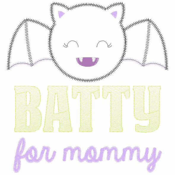 Batty For Mommy Satin and Zigzag Applique