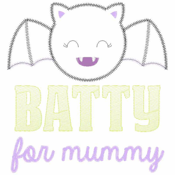 Batty for Mummy Satin and Zigzag Applique