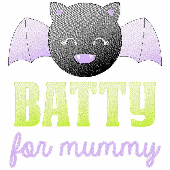 Batty for Mummy Sketch Applique