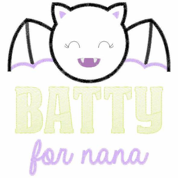 Batty for Nana Satin and Zigzag Applique